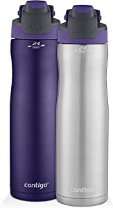 Contigo AUTOSEAL Chill Stainless Steel Water Bottles, 24 oz, SS/Grapevine & Grapevine, 2-Pack