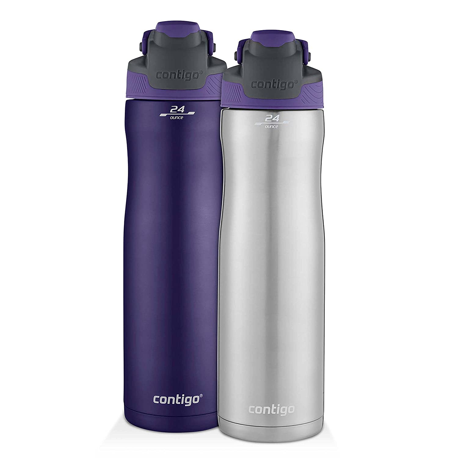 Contigo AUTOSEAL Chill Stainless Steel Water Bottles, 24 oz, SS/Grapevine & Grapevine, 2-Pack 2041390