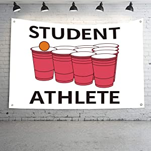 Funny Student Athlete Beer Pong Flag Wall Hanging Decor Office College Student Dorm School University Party 3x5 Feet Flag (Student Athlete)