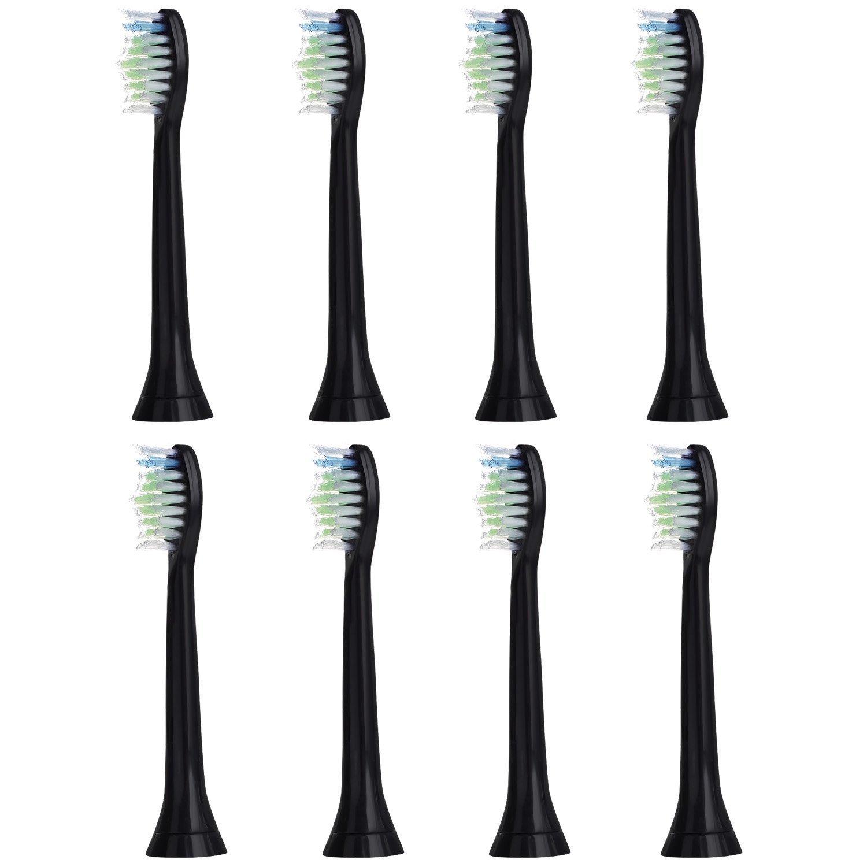 8個セット (2x4) E-Cron® Philips ソニッケアーダイヤモンドクリーン ブラック替ブラシ。次のフィリップス電動歯ブラシのモデルとの完全互換性があります: DiamondClean、FlexCare、FlexCare Platinum、 FlexCare(+)、 HealthyWhite、2シリーズ、EasyClean およびPowerUp。 B00QSG24YA 帽子なし