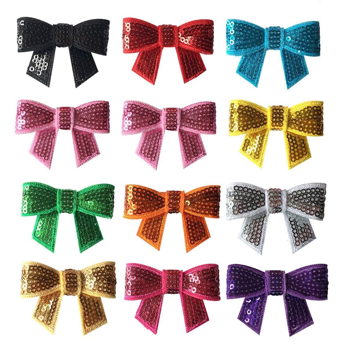 24pcs Sequin Bling Sparkle Hair Bow Clips Hair Clip for Baby Girl Toddler Kid 3/""