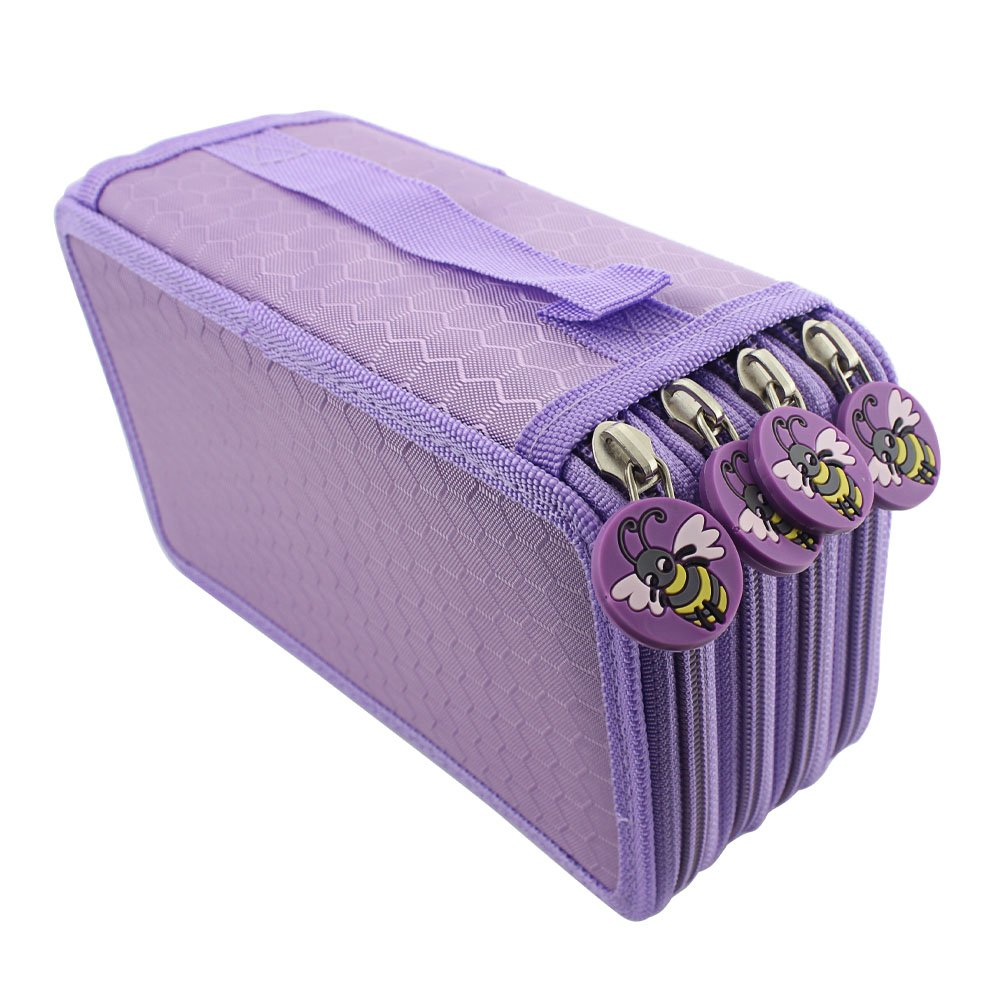Huhuhero 72-Slot Purple Multi-Layer Pencil Holder Organizer Colored Pencils Pouch Stationary Box Portable Makeup Cosmetic Case Bag with Zipper for Girls Adults for Art School Office Travel