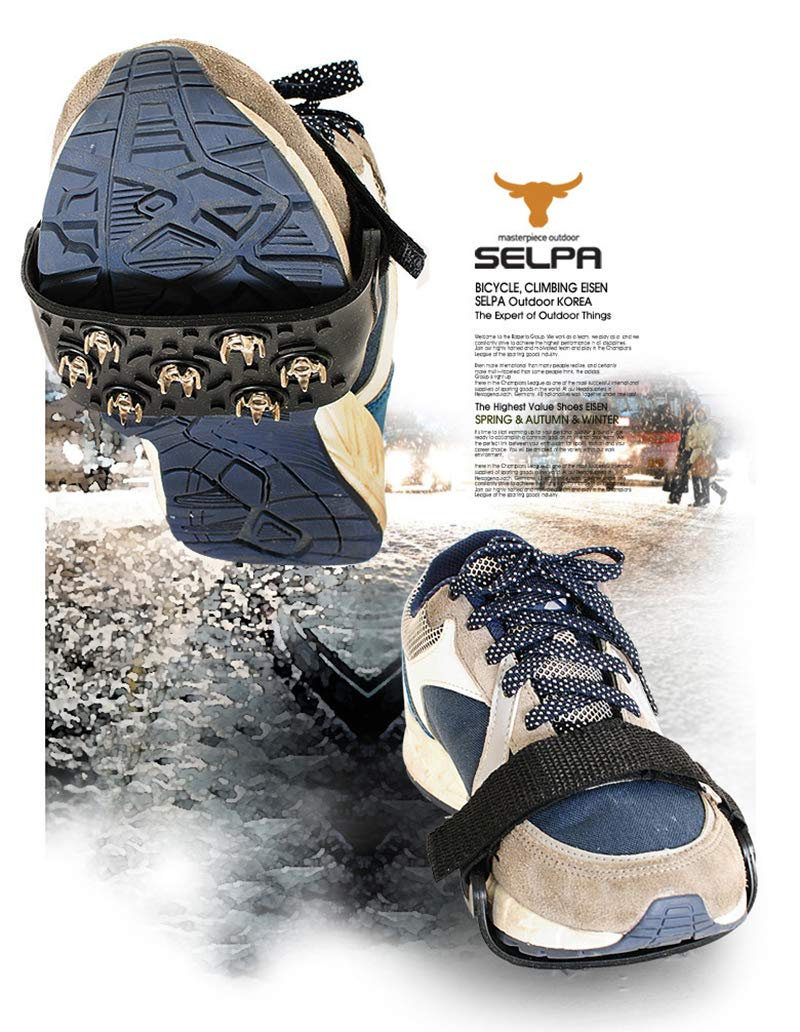 Ice Cleats Traction Nonskid Over Shoes//Boots Snow Ice Grips Crampons Studs Spikes Adjustable in Size