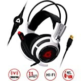 KLIM Puma - USB Gamer Headset with Mic - 7.1 surround sound - High Quality Audio - Integrated Vibrations - Perfect for PC and PS4 Gaming ( White )