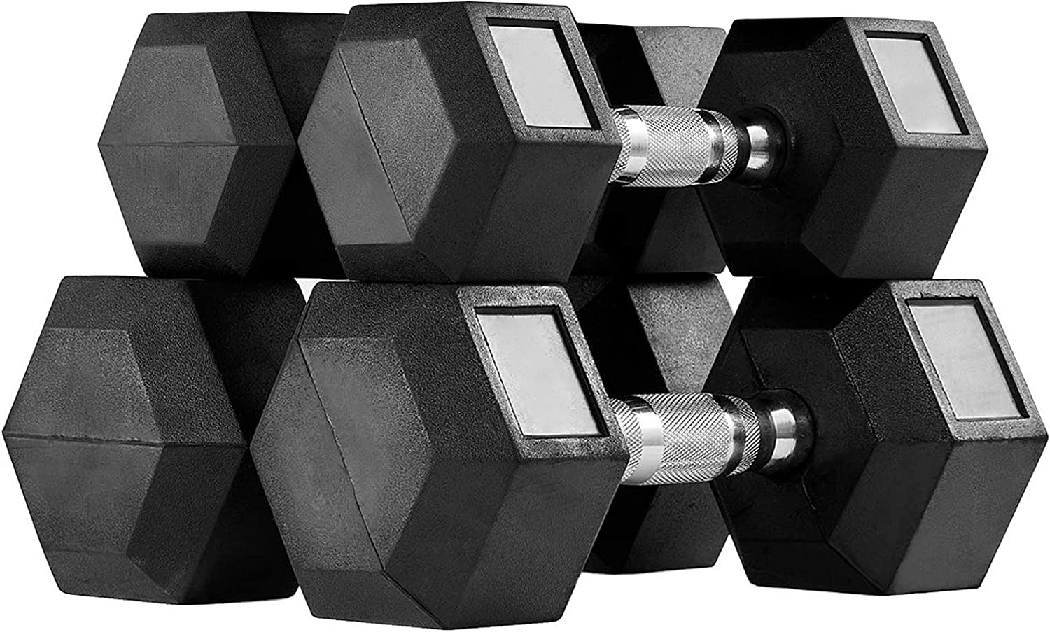 MENCIRO Rubber Encased Hex Dumbbell Set, Dumbbell Weights Set for Home Gym Free Weight Training