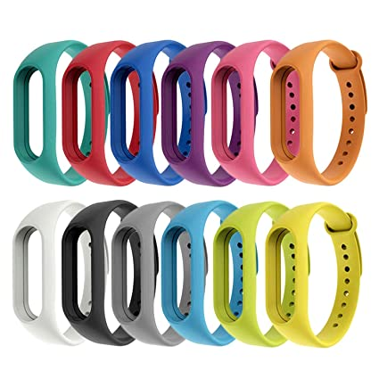 12pcs Assorted Colors Fashion Silicone Replacement Wristband Strap Bracelet  Smart Band Accessories for Xiaomi Xiao Mi MiBand Mi Band 2