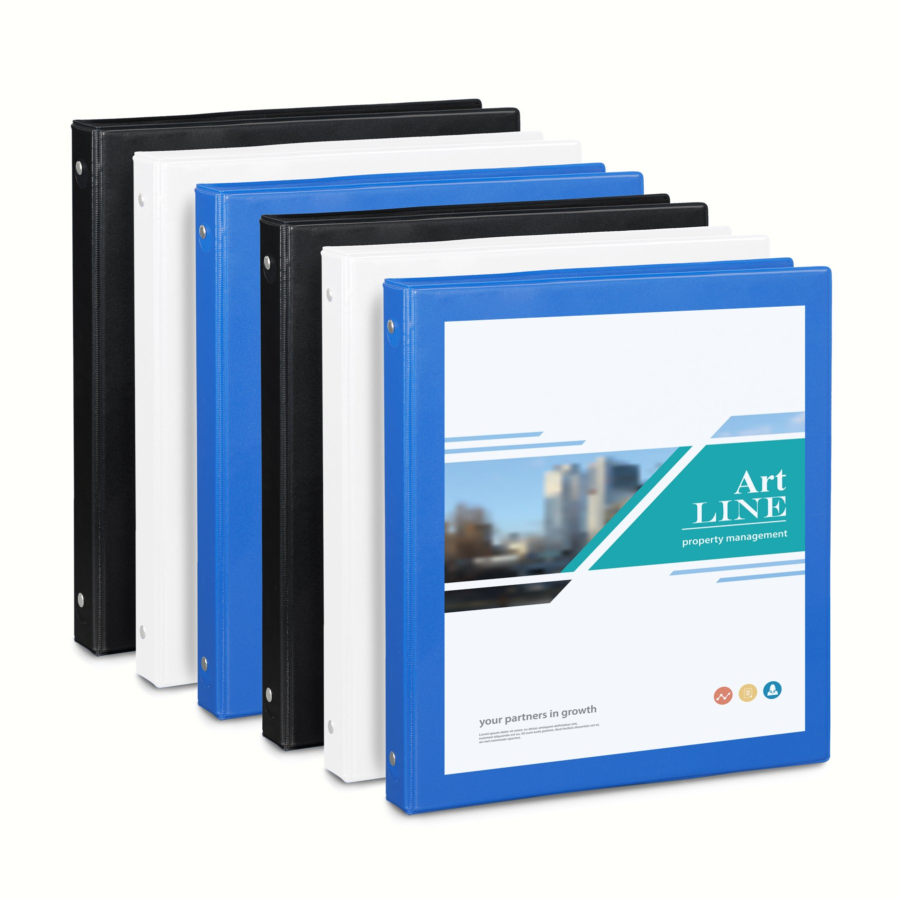 Blue Summit Supplies 6 Pack of 1 inch 3-Ring Binders, Assorted Colors, White, Blue, Black, Clear Cover Binders for Home, Office, and School, 8 1/2 inch x 11 inch Paper, Value Multi Pack