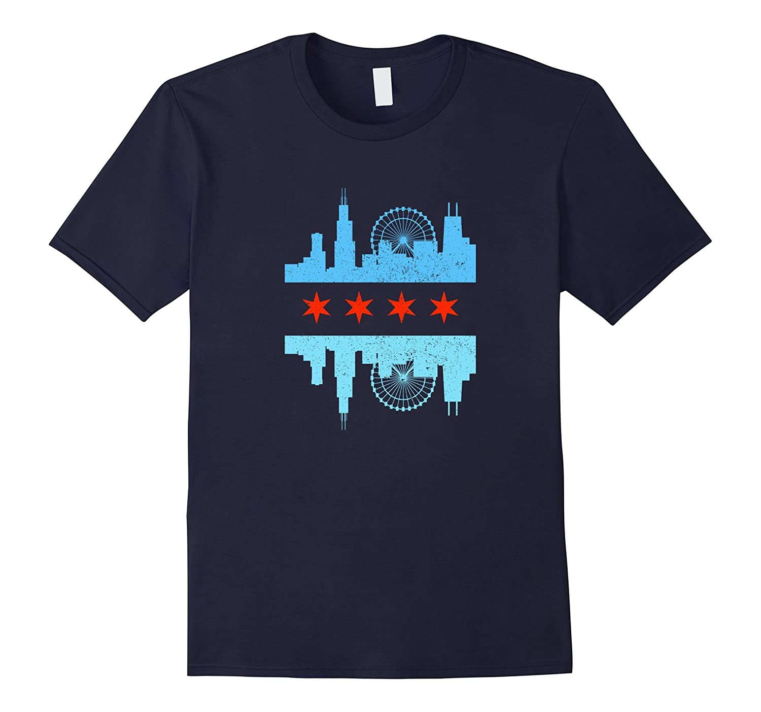 Chicago Skyline Flag T Shirt Windy City Tee Art Artvinatee