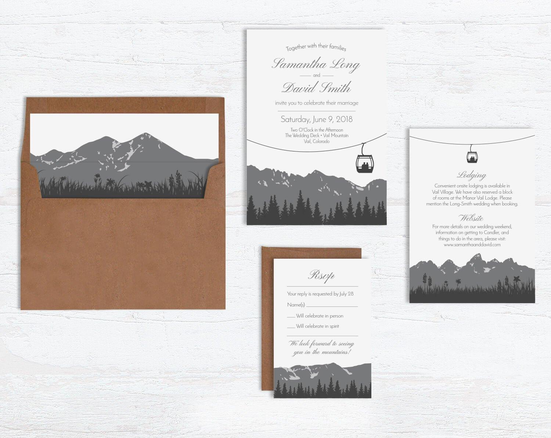 Ski Gondola Wedding Invitation Sets