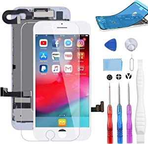 """BeeFix Screen Replacement for iPhone 7 White, 4.7"""" LCD Display and 3D Touch Digitizer Full Assembly, with Proximity Sensor,Front Facing Camera,Earpiece Speaker and Repair Tools,for A1660, A1778, A1779"""
