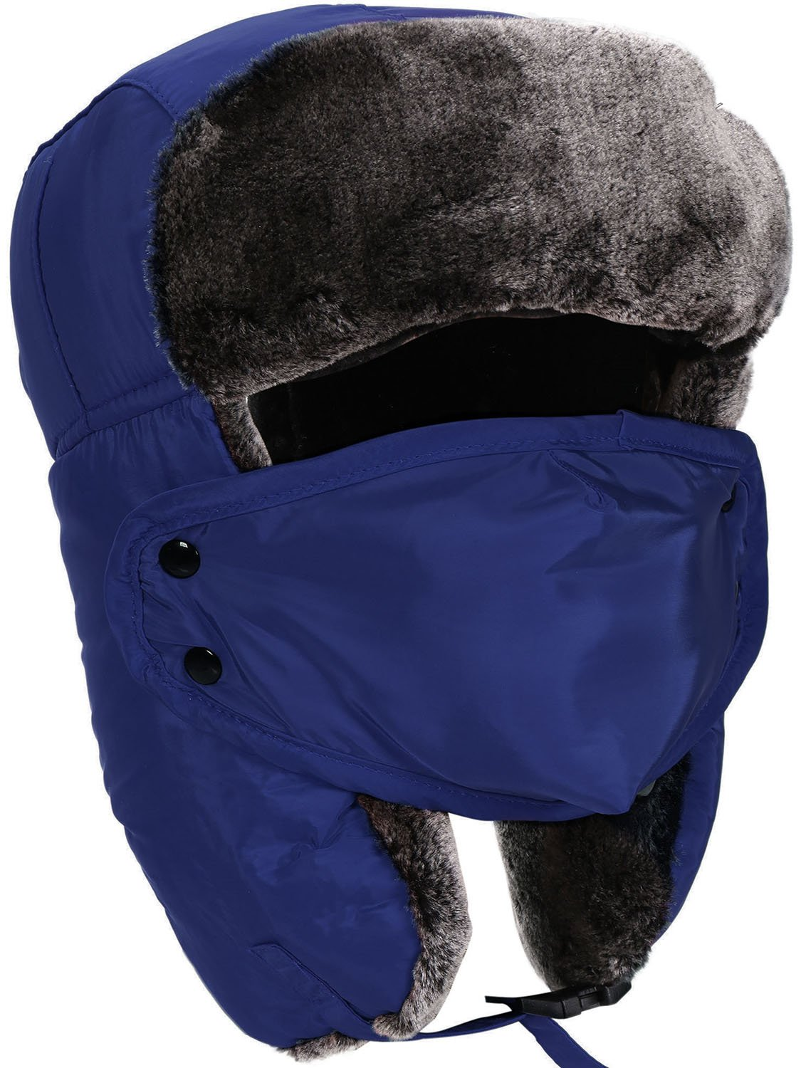 Livingston Winter Russian Hat Faux Fur Trapper Hat with Ear Flaps, and Face Mask, Blue