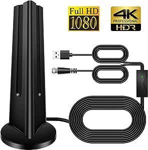 Antena de TV, 100 KM HDTV Digital Antena Amplificador Freeview 4K 1080P HD VHF UHF para Canales Locales con Amplificador de señal Compatible con Todos ...