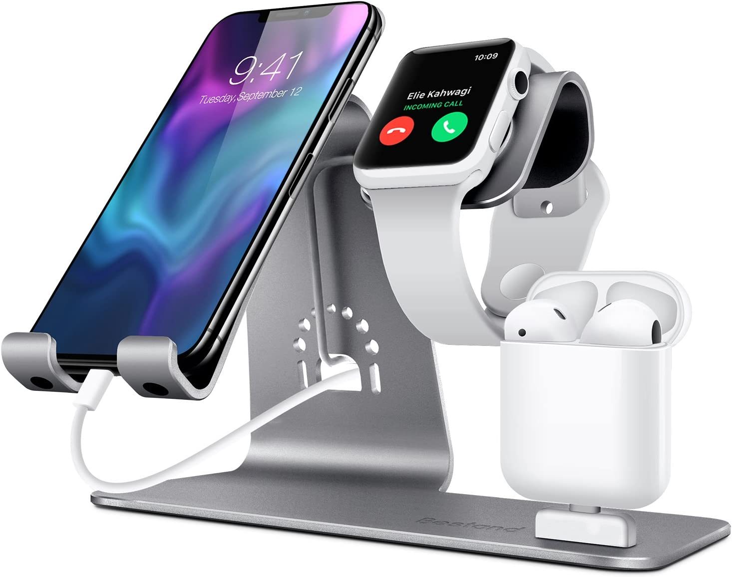 Bestand Soporte [3 en 1] Apple iWatch Estante para, Punto cargador para Airpods, Apple Watch para iPhoneX/8Plus/8/ 7/ 6s Plus, iPad en Gris