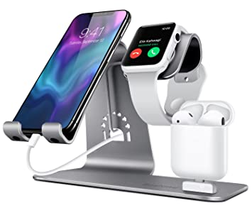 Bestand Soporte [3 en 1] Apple iWatch Estante para, Punto cargador para Airpods, Apple Watch para iPhoneX/8Plus/8/ 7/ 6s Plus, iPad en Gris