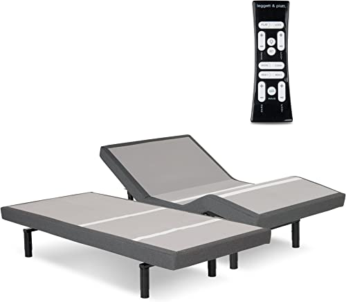 Leggett Platt S-Cape 2.0 Adjustable Bed Base with 2 4-Port USB Hub s and Full Body Massage, Charcoal Gray Finish, Split California King