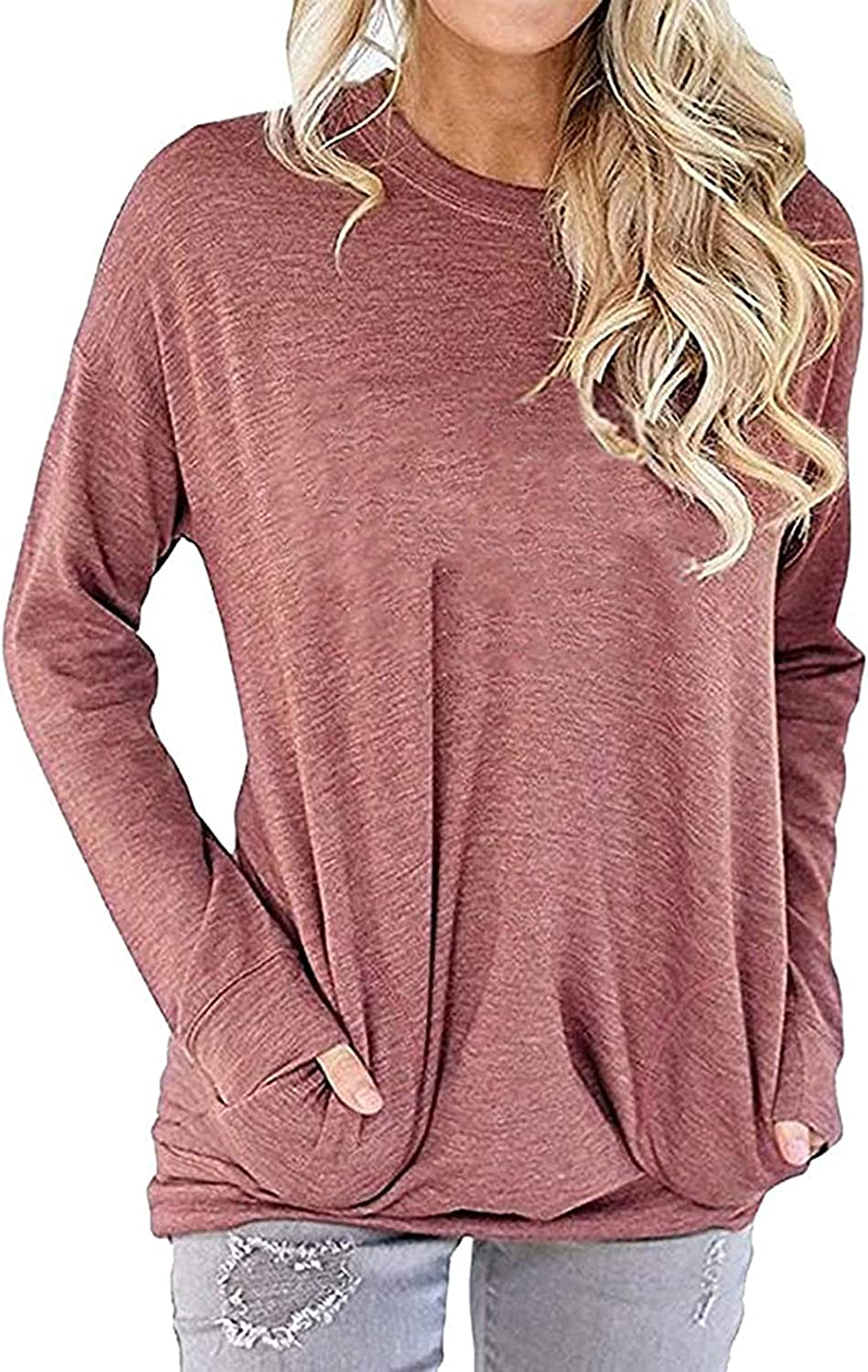Amstt Pocket Shirts for Women Casual Sweatshirt Loose Fit Tunic Top Baggy Comfy Blouses