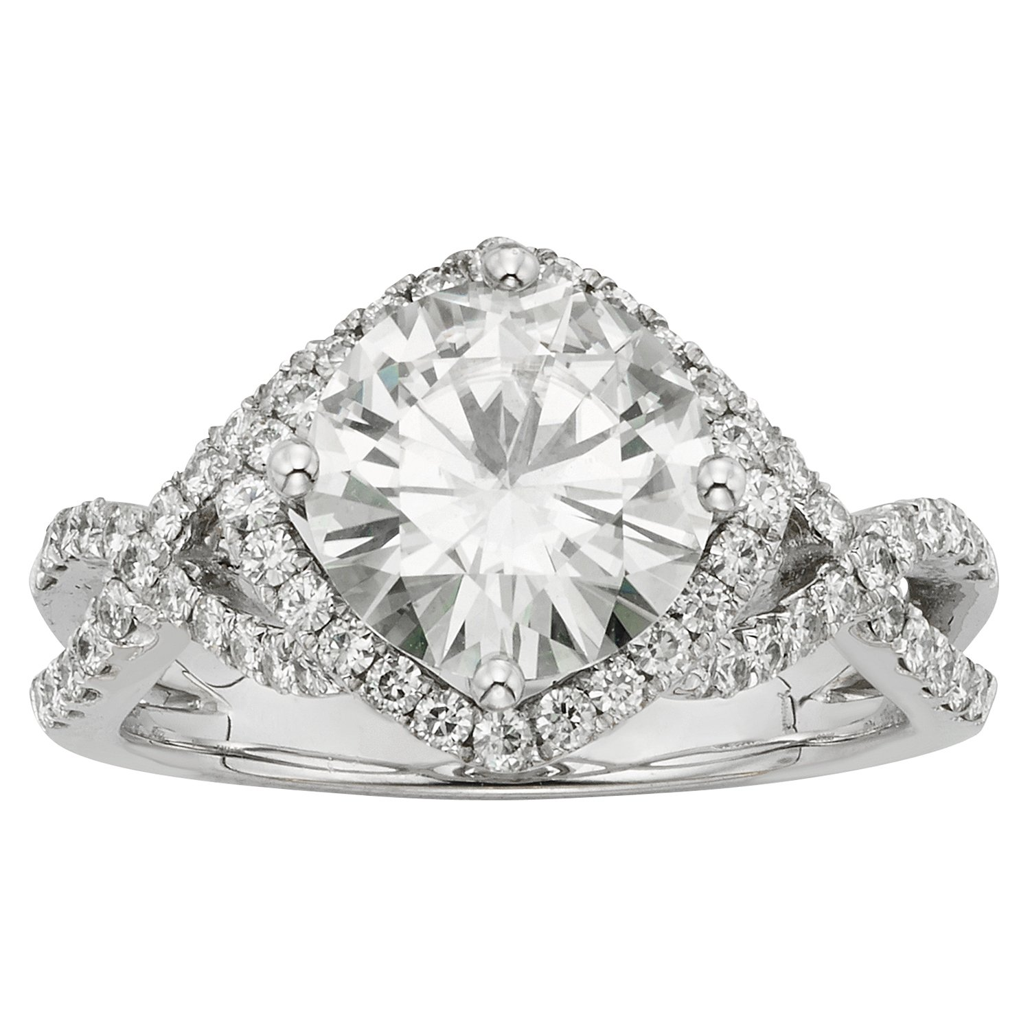 Forever Brilliant Round 9.0mm Moissanite Engagement Ring - size 7, 3.22cttw DEW By Charles & Colvard