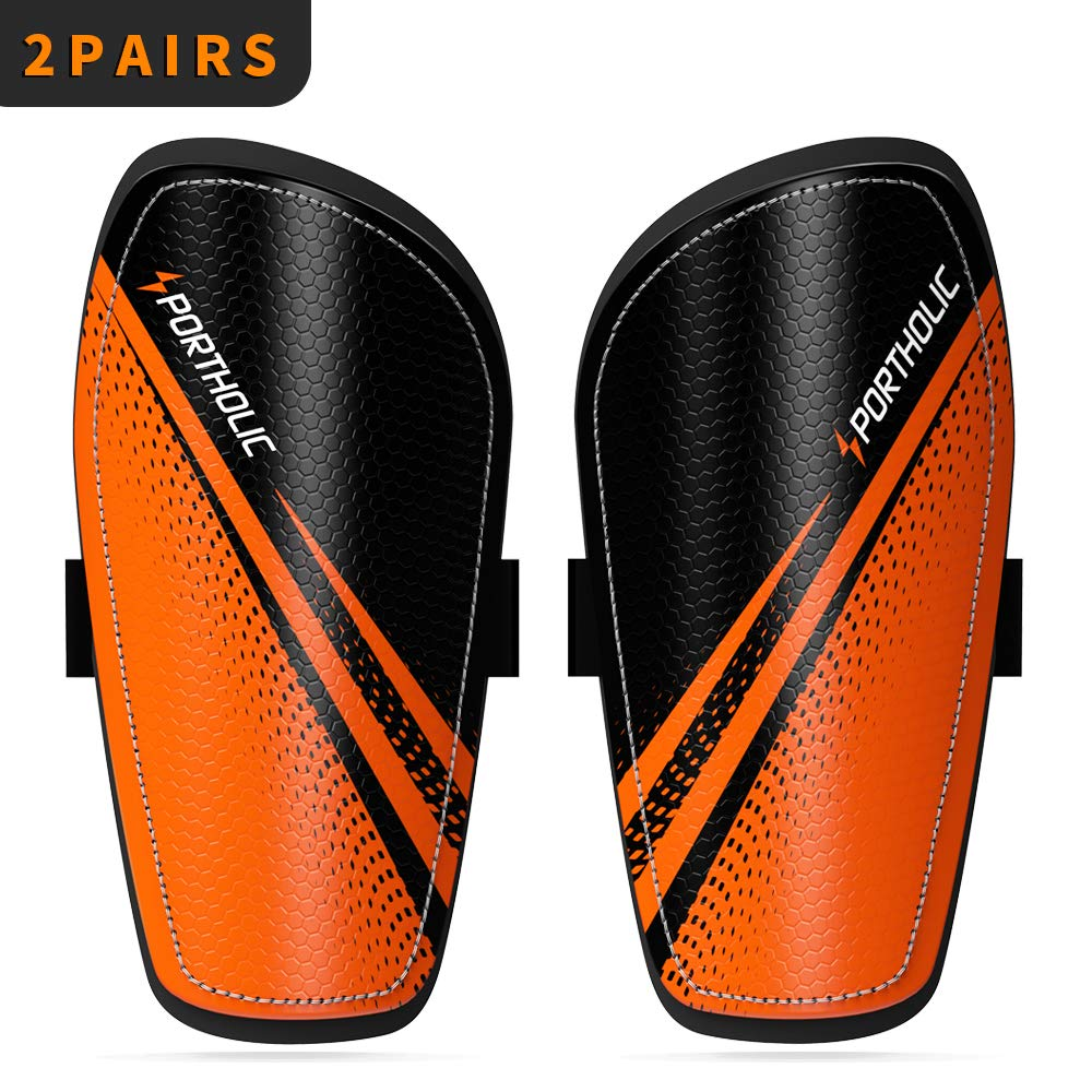 PORTHOLIC Youth Soccer Shin Guards, [2 Pair] Kids Soccer Shin Protective Pads Board Comfortable Lightweight and Breathable for 3-7 Years Old Boys Girls Children Toddler (S)