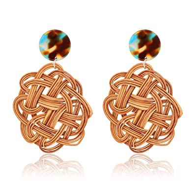 c10f76c7b CEALXHENY Woven Rattan Earrings Handmade Straw Drop Dangle Earrings Acrylic  Stud Earring for Women Girls (