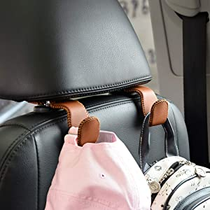 Car Hooks Universal Car Vehicle Back Seat Headrest Hanger Holder Hook Microfiber Leather & Stainless Steel for Bag Purse Cloth Drink Grocery (Brown)