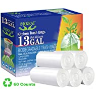 OKKEAI 13 Gallon/49 Liter White Garbage Bags Tall Strong Trash Bags Clear for Wastebasket Trash Can Liners Home and Bathroom office kitchen,60 Count