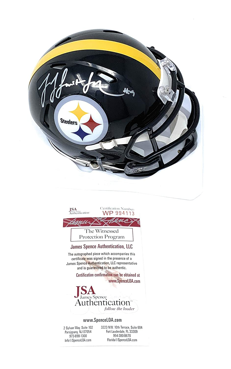 a231a88cd6d Amazon.com  JuJu Smith Schuster Pittsburgh Steelers Signed Autograph Speed  Mini Helmet JSA Witnessed Certified  Sports Collectibles
