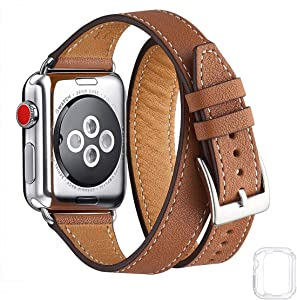 Bestig Band Compatible for Apple Watch 38mm 40mm 42mm 44mm, Genuine Leather Double Tour Designed Slim Replacement iwatch Strap for iWatch Series 6 SE 5 4 3 2 1 (Brown Band+Silver Adapter, 38mm 40mm)