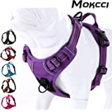 MOKCCI Soft Front Dog Harness .Best Reflective No Pull Harness with handle and Two Leash Attachments