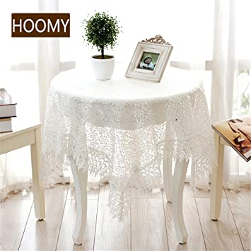 Hoomy European Lace Tablecloths White Embroidered Table Cloth For Round  Table Floral Design Small Table Overlays