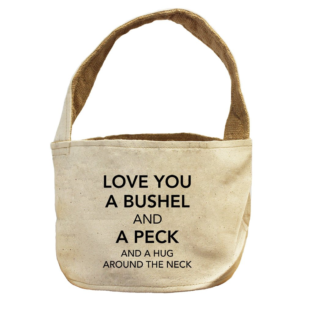 Style in Print Love You A Bushel & A Peck Canvas and Burlap Storage Basket Basket