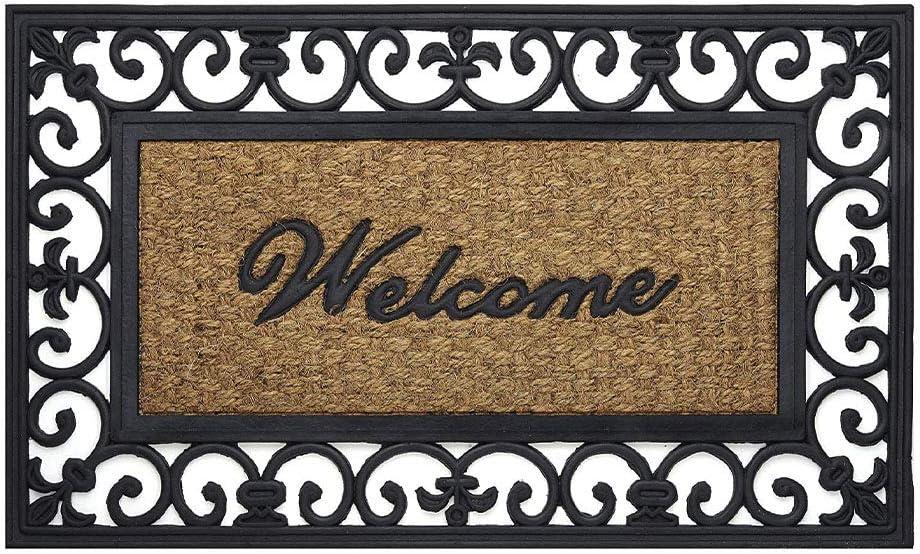 Achim Home Furnishings WRM1830FL6 Fleur De Lis Wrought Iron Rubber Door Mat 18 by 30,Black//Brown