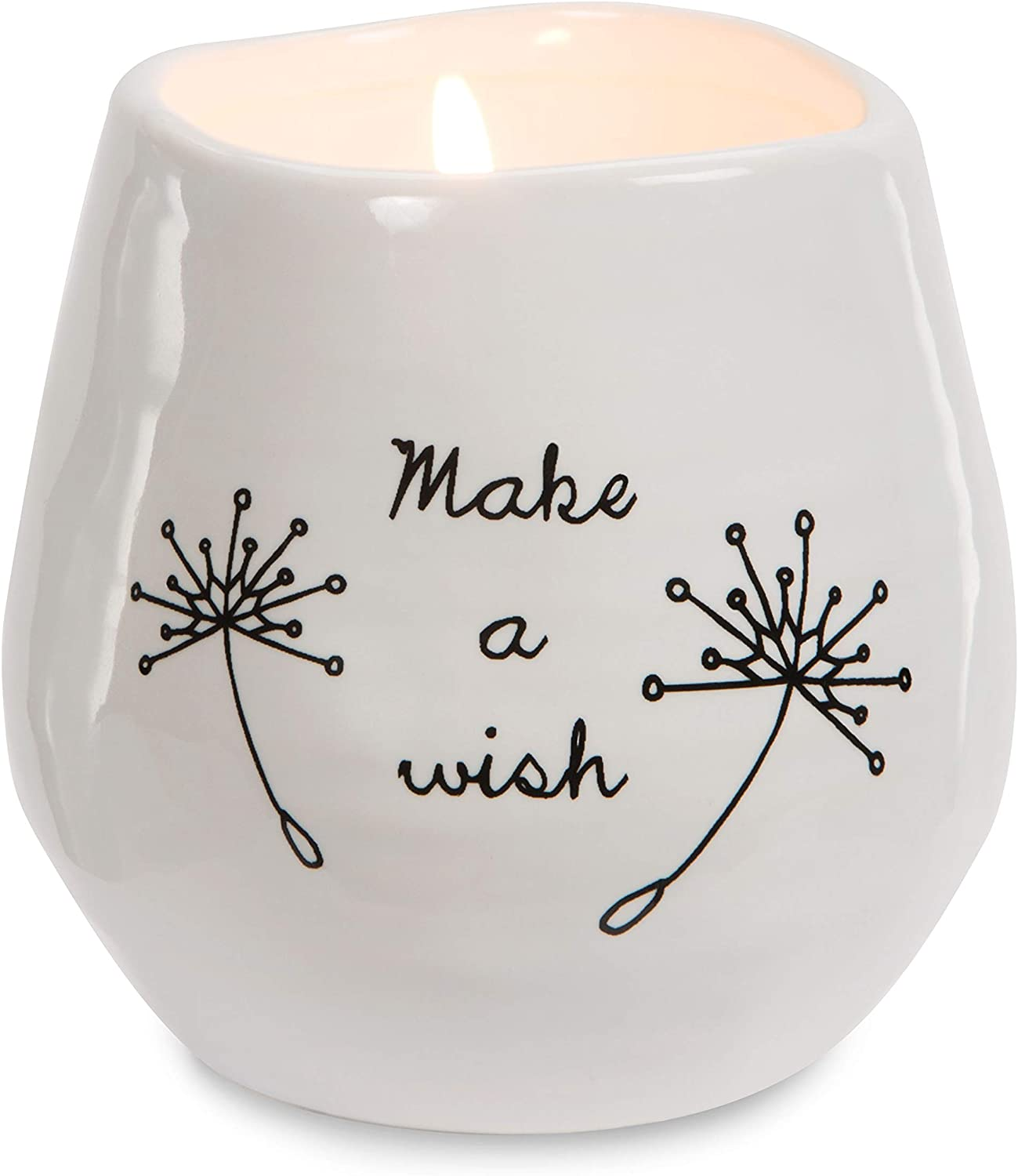 Pavilion Gift Company Plain Dandelion Make a Wish White Ceramic Soy Serenity Scented Candle