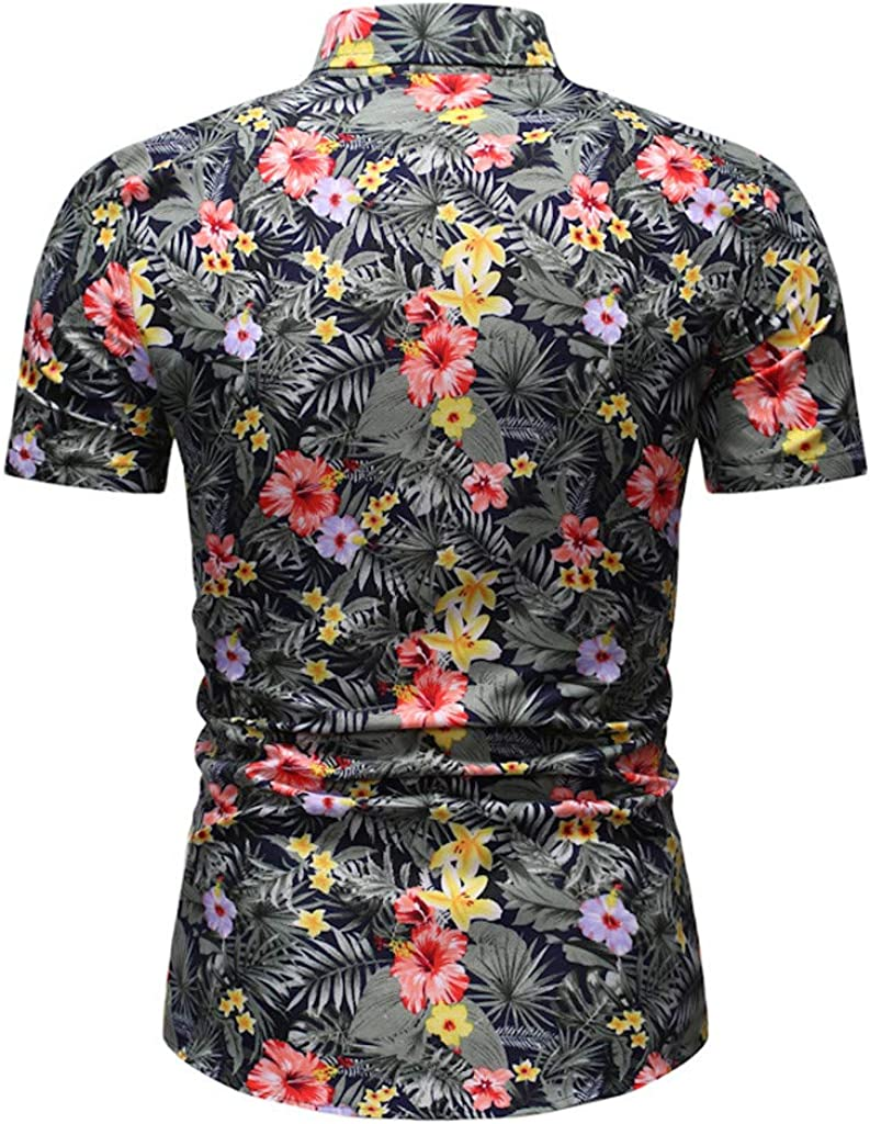 WAWAYA Mens Casual Long Sleeve Button Down Cat Printing Button Up Dress Work Shirt