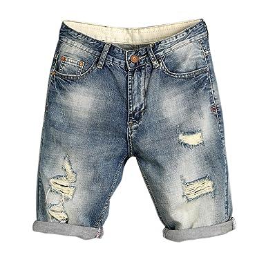 Homme Classique Bold Short Manner Bermuda Jeans Denim Déchiré 35RcjAq4L