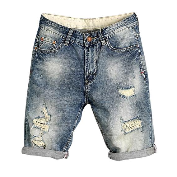 Bold Manner Bermuda Jeans Déchiré Homme Short Denim Classique Patalon Court  Cool (FR36-38 cd9e4c65cb7