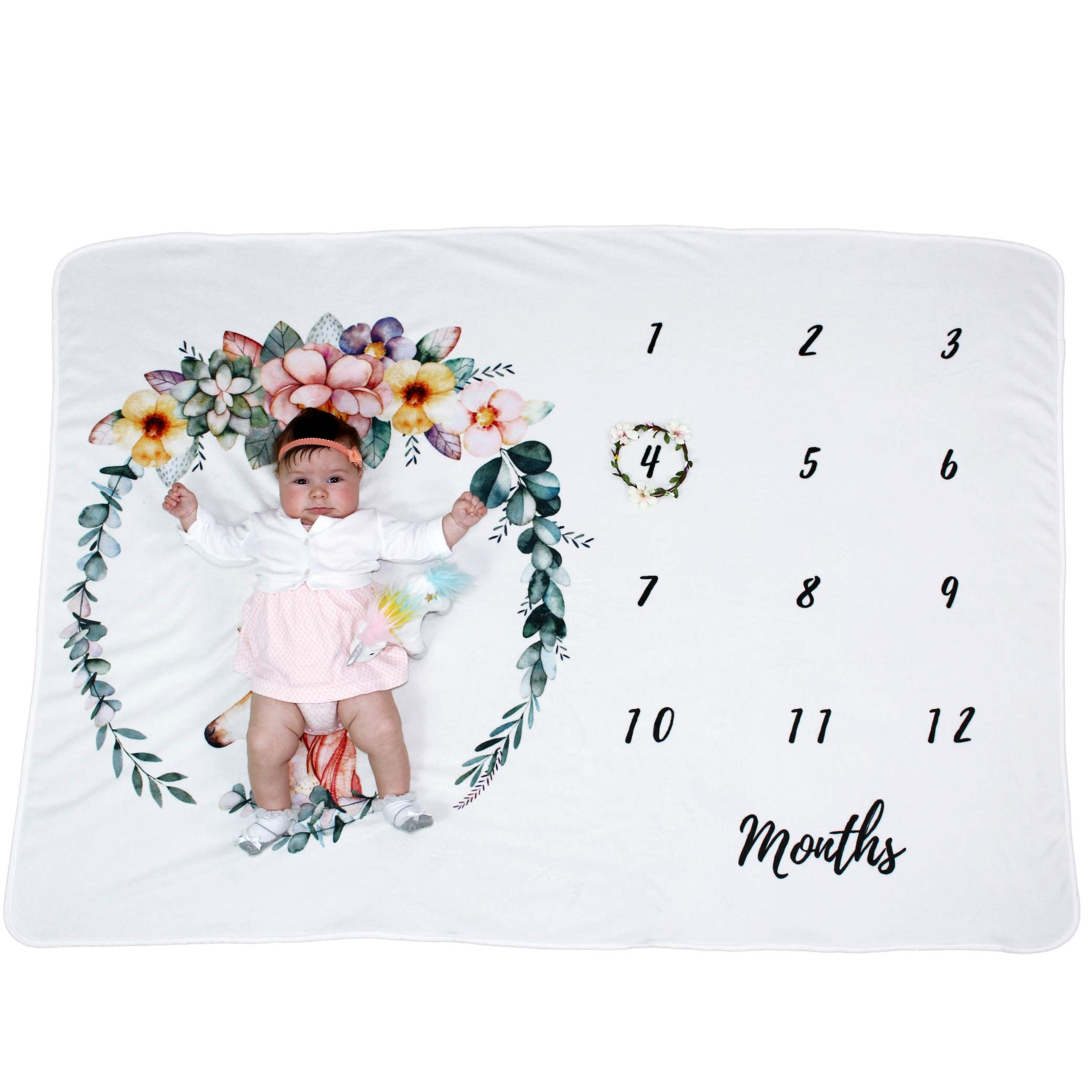 Summit One Baby Monthly Milestone Blanket with Unicorn Design, 1-12 Months (60 x 40 Inch) - Includes Flower Wreath Photography Prop - Large Super-Soft Fleece Newborn Backdrop Blankets for Baby Girls