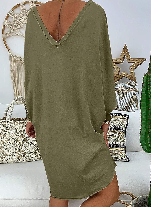 Aleumdr Vestito Donna con Manica Corta Vestiti Estivi Donna Scollo V Abito Donna Corto a Line Taglia S-XL