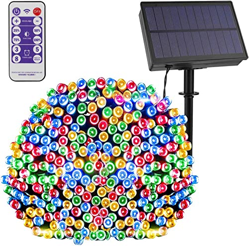 Remote Control Timer Dimmable LEOHOME Solar String Light Outdoor Waterproof, 8 Lighting Modes 72ft 200 LED Christmas Lights for Halloween Garden Backyard Patio Festival Wedding D cor Multi