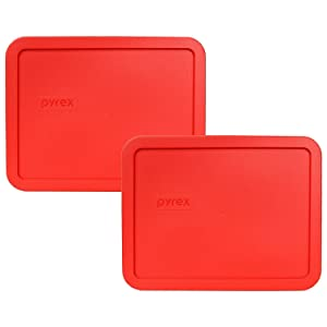 Pyrex 7212-PC 11 Cup Red Rectangular Plastic Food Storage Lid - 2 Pack