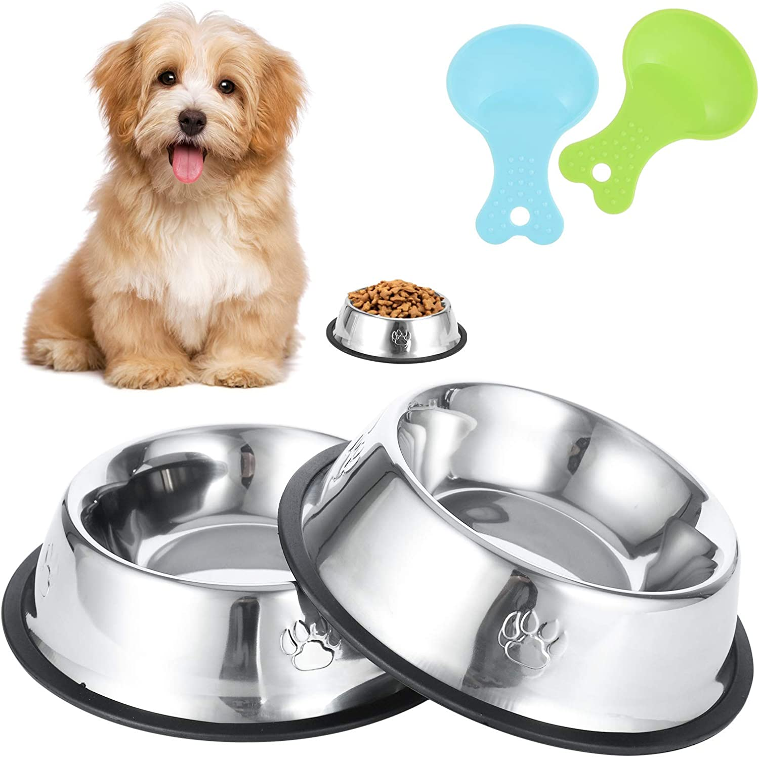 Inscape Data 2 Pack Dog Bowl Stainless Steel Dog Food and Water Bowls Pet Feeder Bowls with Spoons, Non-Slip Rubber Base - Easy to Clean