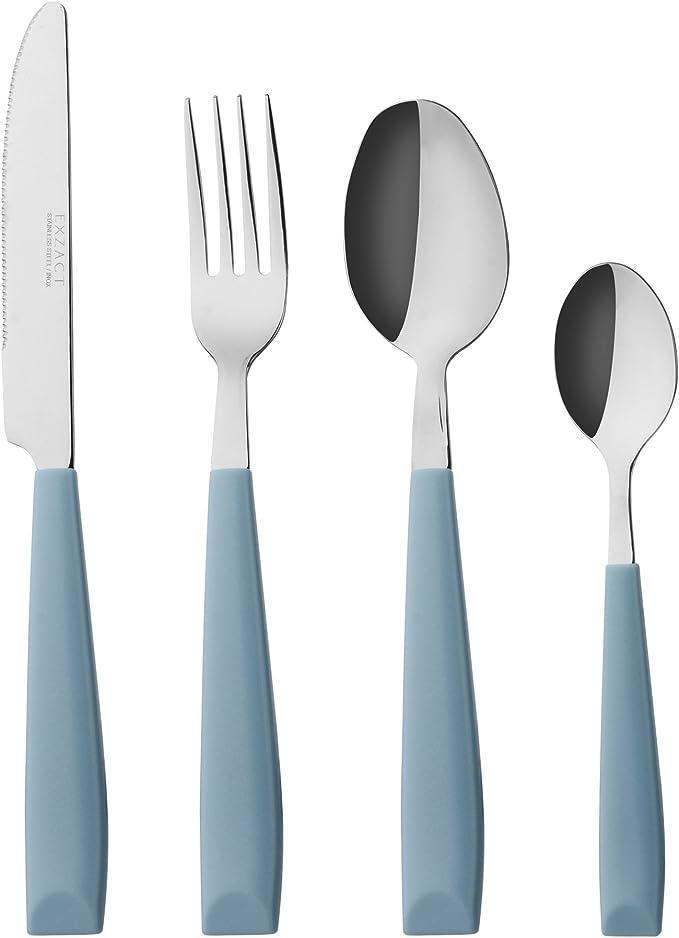 juego de cuberter/ía de cocina color azul Juego de vajilla de acero inoxidable de color blanco mate tenedor y cuchara cuchillo juego de vajilla de acero inoxidable 30 piezas