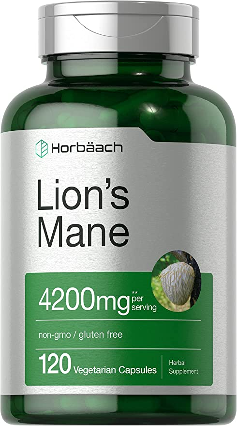 Lions Mane Mushroom Extract | 4200mg | 120 Capsules | Vegetarian, Non-GMO, Gluten Free Supplement | by Horbaach