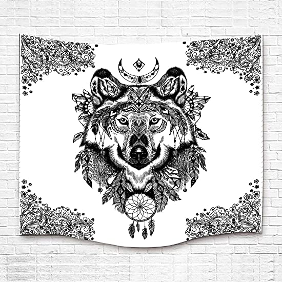 Simsant Totem Tapestry Wolf Flannelette Black and White Wall Blanket Extra Large Tapestry Wall Hanging Extra Large Extra Thick Flannelette Wall Decor White,84x90inches 213.3×228.6CM SILF028