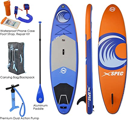 Xspec Inflatable Stand Up Paddle Board w/Non-Slip Wide Top Deck 10x32 x6 Universal SUP Wide Stance