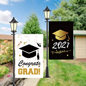 Tiamon 2 Pieces Graduation Theme Garden Flags Congrats Graduate and 2021 Pattern Outdoor Yard Flags House Flag Double Sided Decorative Banners for Garden Home Decoration,12.5 x 18 Inch
