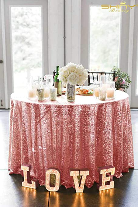 Pink Round Table.Shinybeauty Fuchsia Pink Table Cloths Parties 48 Inch Round Sequin Table Cover Rose Pink Round Tablecloth 48 Inch Fuchsia Pink