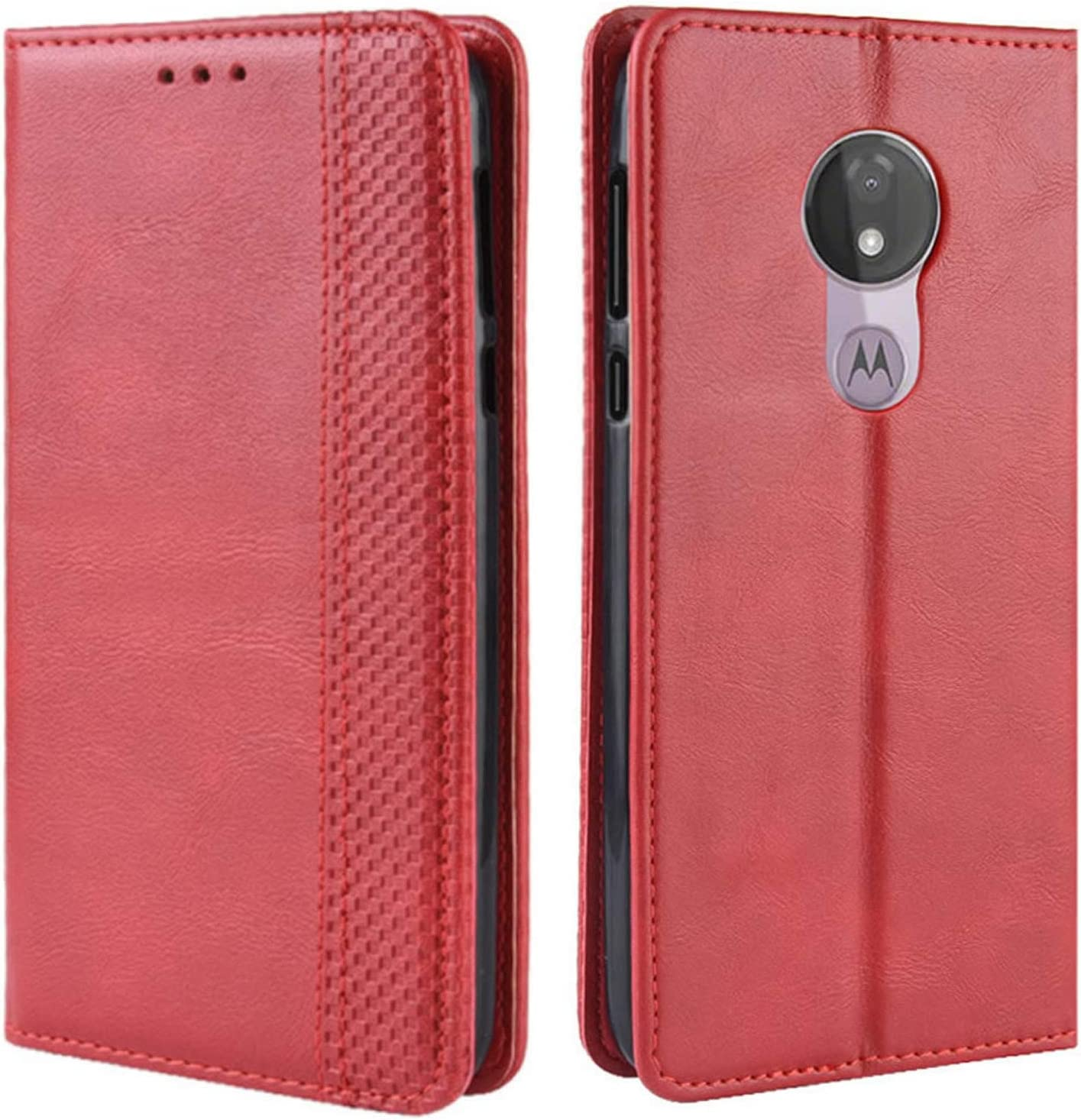 HualuBro Motorola Moto G7 Power Case, Moto G7 Supra Case, Moto G7 Optimo Maxx Case, Magnetic Full Body Shockproof Flip Leather Wallet Case Cover with Card Holder for Moto G7 Power Phone Case (Red)
