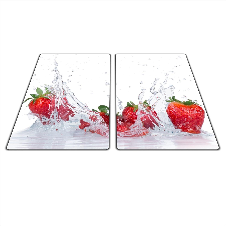 Herdschutz aus Glas 2x 29x52 für Ceran//Induktion Erdbeere motiv