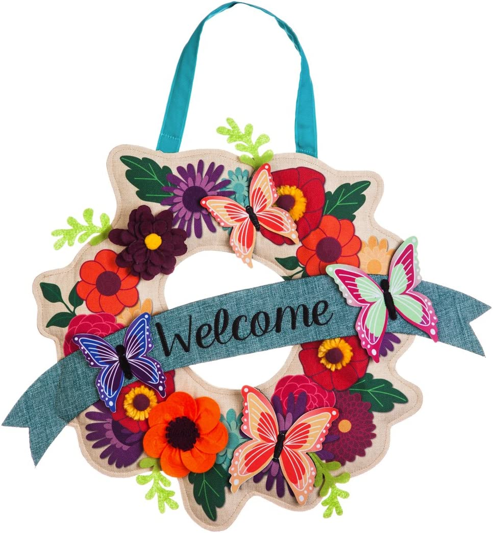 Evergreen Flag Butterfly Garden Wreath Outdoor Safe Burlap Hanging Front Door Decorative Sign