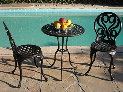 CBM Outdoor Patio Deck Cast Aluminum Furniture 3 Piece Bistro Set G BLK CBM1290